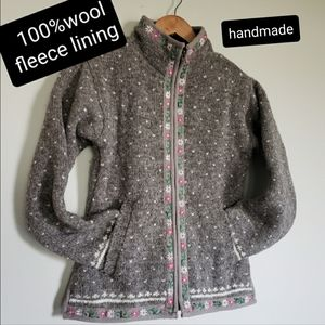 100%wool handmade embroidered jacket size small